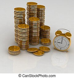 Time is money concept - Time is money concept with clock and...