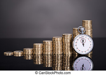 Time is money concept over black background
