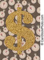 Time is money concept with a gold wood dollar sign with stopwatch