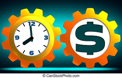 Time is money concept with clock, dollar with gears