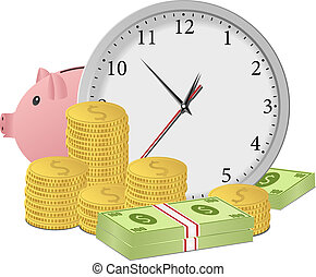 Time is money concept with clock, piggy bank, dollar...