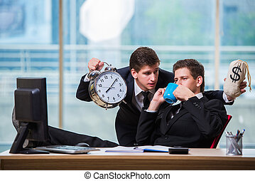Time is money concept with two businessman