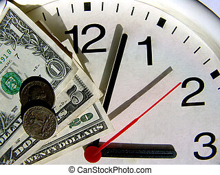 Time is money - Dollars on a clock