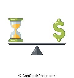 time is money - Time is money concept. Hourglass and money...