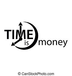 Time is money. Flat vector alarm clock icon on white background.