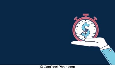 Time is money HD animation - Hand holding timer with money...