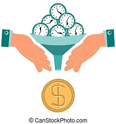 Time is money. Hours, clock turn into gold dollar coin. Funnel in his hands. Investment, time saving, time management.