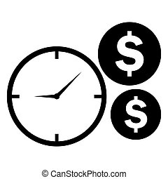 Time is money icon. Clock and coins symbol. Vector