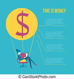 Time is money infographics template.