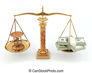 Time is money. Money and hourglass on scale.3d