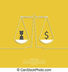 Time is money, money concept. On the scales of a dollar sign...