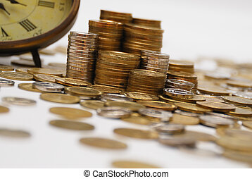 Time is money... - Old hours and different coins - symbol...