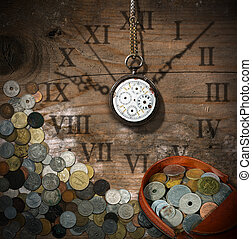 Time is Money - Old Watch and Coins