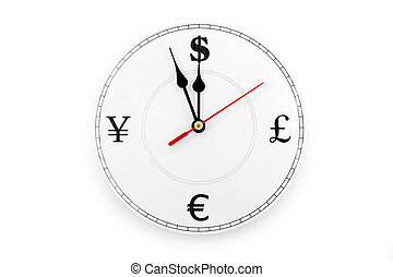 time is money - clock and currency Sign, concept of time is...