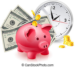 Pig moneybox and money - Time is money. Pig moneybox and...