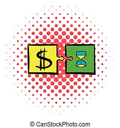 Time is money puzzle icon, comics style