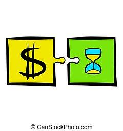 Time is money puzzle icon, icon cartoon