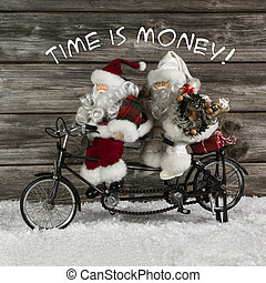 Time is money - santa claus team in hurry for buying christmas