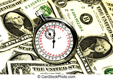 Time is Money Concept - Stopwatch and Money