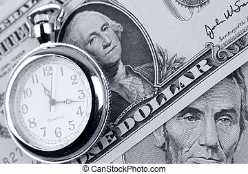 Time is money - Pocket watch and banknotes. Time is money...