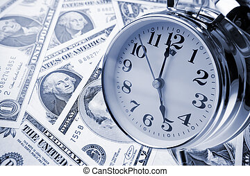 Time is money  - Clock and banknotes. Time is money concept