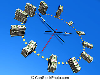 The relationship between time and money. Conceptual image.