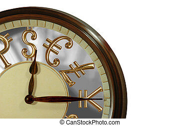 Time is money! A clock with golden international currency signs as numbers