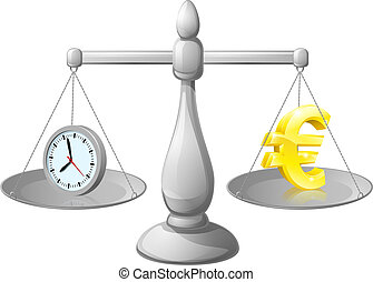 Time is money - Time money balance scales, with a clock ...