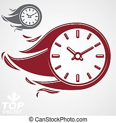 Time is running out concept, vector timer with burning...