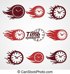 Time is running out concept, vector timers with burning...