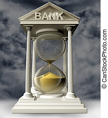 Time is running out for banks - Illustration of a bank in...