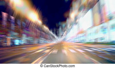 time laps Car drive by night  blur motion