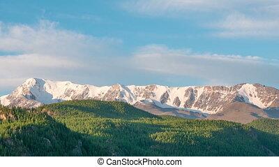 Time laps landscape Altai mountains. Siberia, Russia.