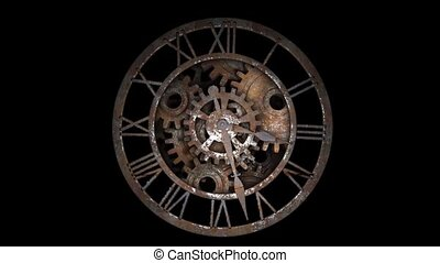 Time laps of an old watch. The hands of the clock spin ...