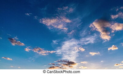 Time laps of the evening sky with beautiful clouds