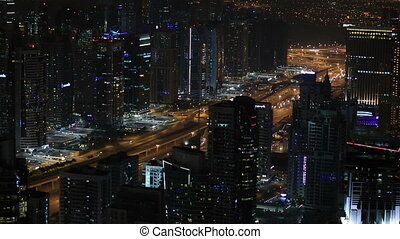 time lapse aerial Sheikh Zayed Road