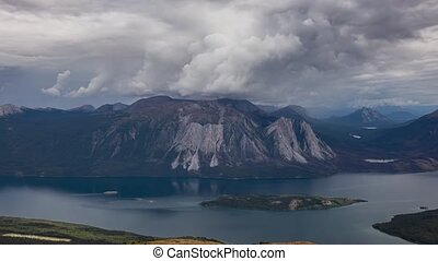 Time Lapse. Aerial View Canadian Nature on top of Nares Mountain during fall season. Located in Carcross, near Whitehorse, Yukon, Canada. Background. Zoom In