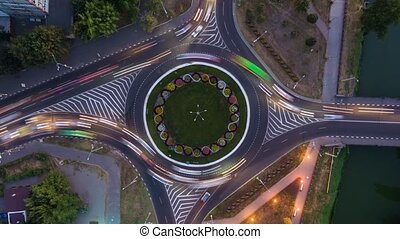 Time lapse aerial view to crossroads roundabout, Kharkiv - ...