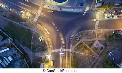 Time lapse aerial view to crossroads T Y shaped, Kharkiv - ...