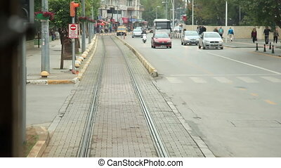 and tram - time lapse Antalya city  traffic and tram