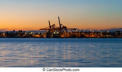 Time Lapse at Port of Vancouver BC - Time Lapse Movie of...