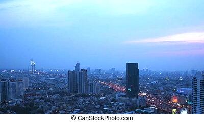 Time lapse Bangkok skyline sunset