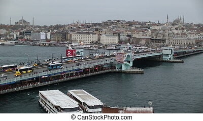 Galata Bridge - time lapse busy city traffic at Galata...