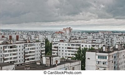 Time Lapse - city clouds over poor living districts, Russia,...