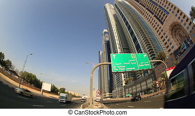 time lapse city traffic in Dubai