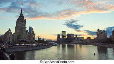 Time lapse cityscape of city at sunset with the movement of...