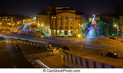 Time lapse cityscape traffic with motion blur pictures . Yerevan at night.
