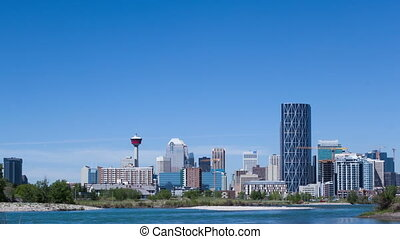 Time lapse close up Calgary Skyline - Time lapse close up of...