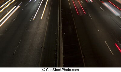 Time lapse close up freeway light