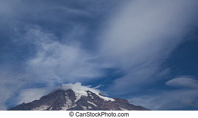 Time lapse close up Mt. Rainier wit